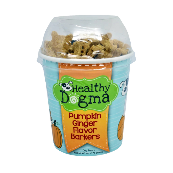 Healthy Dogma Pumpkin Ginger Mini Barkers Natural Dog Treats 6.2 oz Cup-biscuit-WOOFALICIOUS.SG