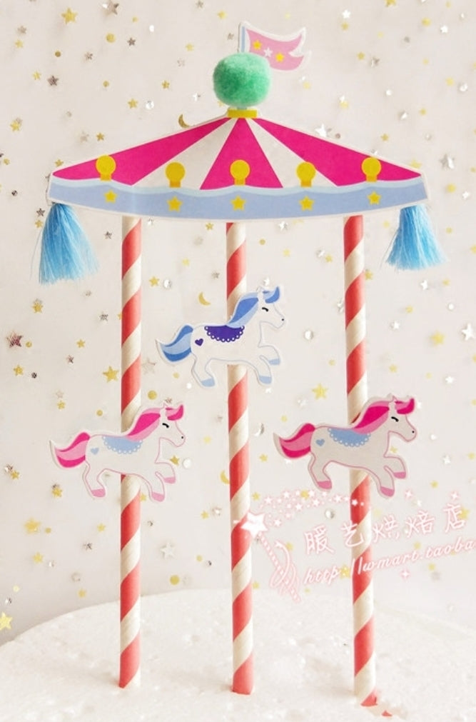 Merry go round + balloon for cake-WOOFALICIOUS.SG
