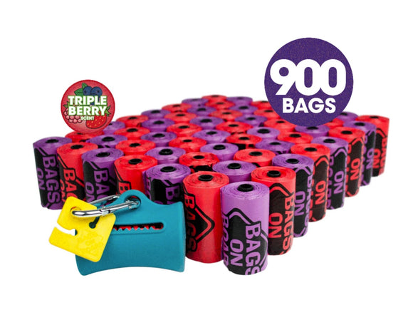 Dog Poop Bags and Dispenser | Strong, Leak Proof Dog Waste Bags, by Bags on Board ,Triple Berry Scent, 9 x14 Inches, 900 Waste Pickup Bags-toy-WOOFALICIOUS.SG