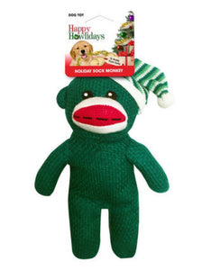 "Happy Howliday 10"" Holiday Sock Monkey in green by Pet Factory-toy-WOOFALICIOUS.SG"