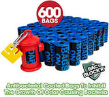 Bags On Board Dog Poop Bags -Strong, Leak Proof Dog Waste Bags , 600 Blue Bags Comes with a red fire hydrant dispenser-WOOFALICIOUS.SG