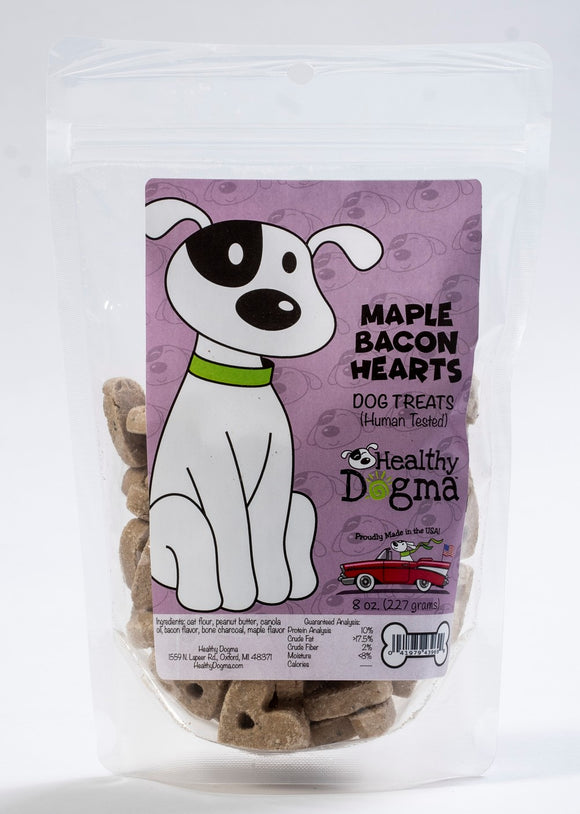 Maple Bacon Hearts by Healthy Dogma biscuits 8oz-WOOFALICIOUS.SG