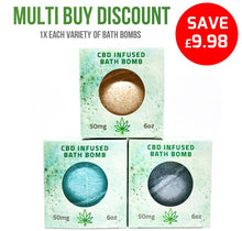 Load image into Gallery viewer, MULTI BUY DEAL: 1x Each CBD Relieve Bath Bomb
