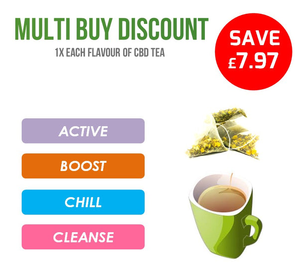MULTI BUY DEAL: 1x Each Flavour CBD Relieve Hemp Rich CBD Tea