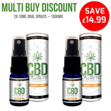 Load image into Gallery viewer, MULTI BUY DEAL: 2x CBD Relieve 10ml Full Spectrum CBD Oil Spray's - 1000mg