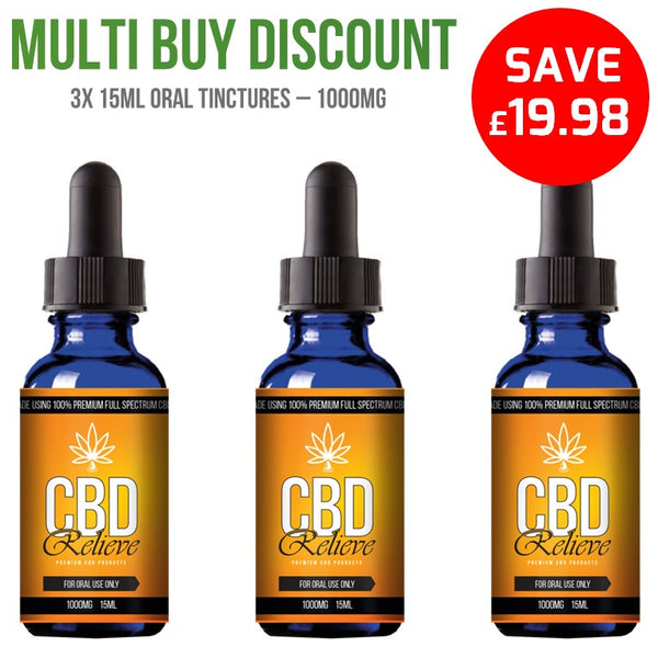 MULTI BUY DEAL: 3x 15ml Full Spectrum CBD Oil Tincture's - 1000mg