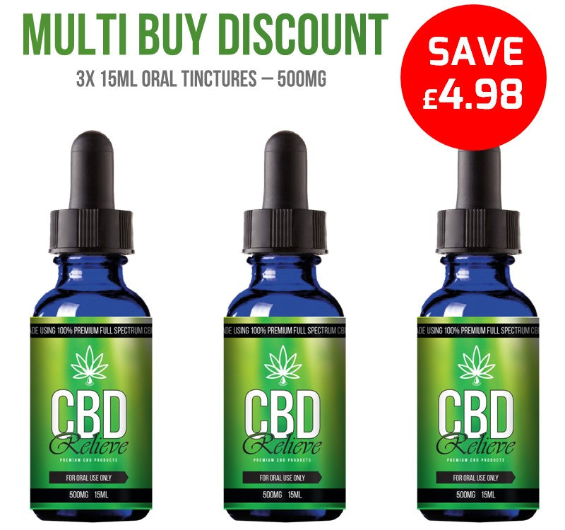MULTI BUY DEAL: 3x 15ml Full Spectrum CBD Oil Tincture's - 500mg