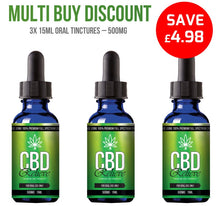 Load image into Gallery viewer, MULTI BUY DEAL: 3x 15ml Full Spectrum CBD Oil Tincture's - 500mg