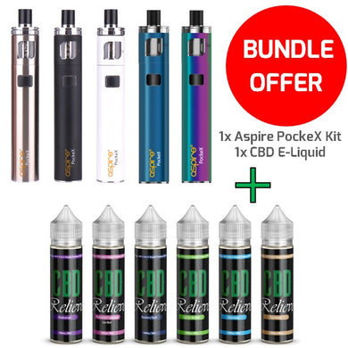 VAPE BUNDLE: Aspire PockeX Vape Starter Kit + 60ml CBD Relieve E-Liquid 1000mg