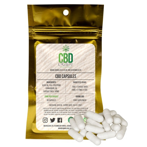 CBD Relieve | Full Spectrum CBD Capsules – 600mg / 30pcs