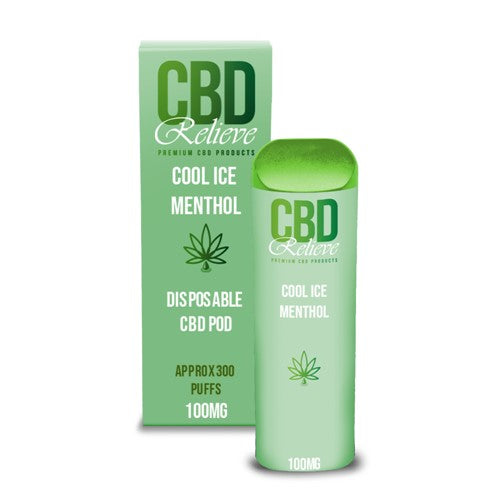 2ml CBD Relieve Disposable Vape Pod - Cool Ice Menthol 100mg