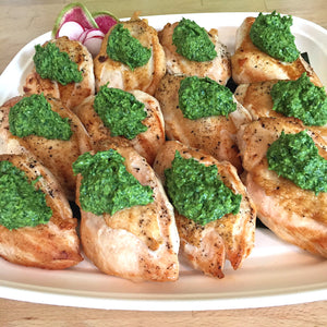 Roasted Chicken with Garlic and Herb Pistou