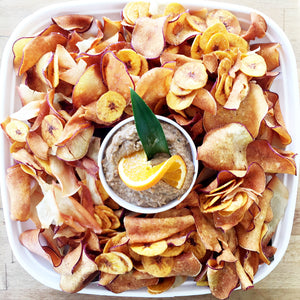 Root Chips with Babaganouche