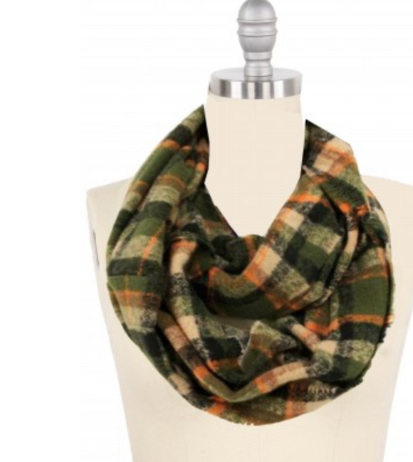 Olive Plaid Infinity Scarf