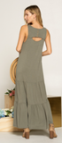 Tina Olive Tiered Dress
