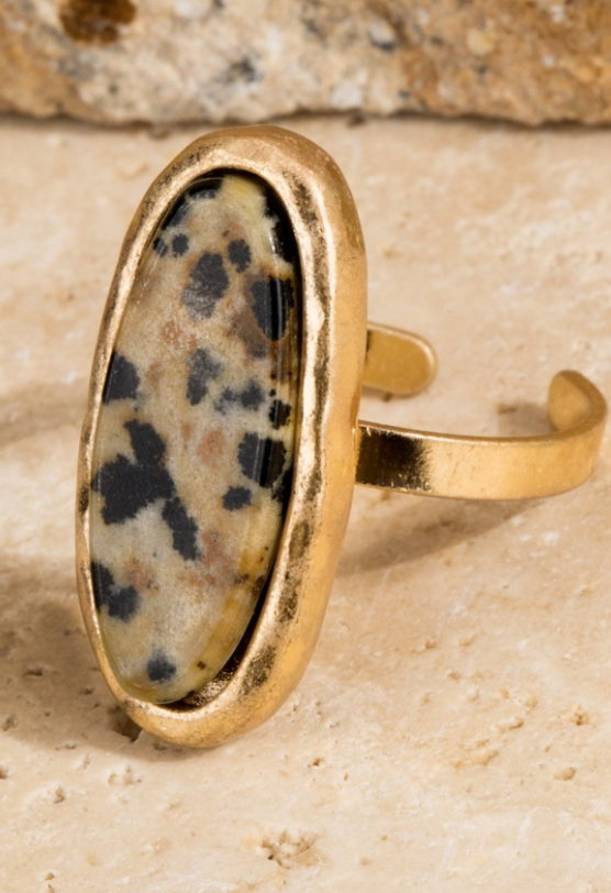 Dalmation Oval Stone Ring