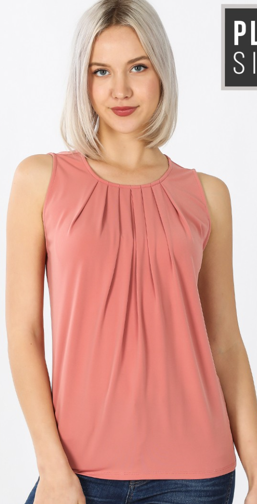 Zen Rose Pleat Tank