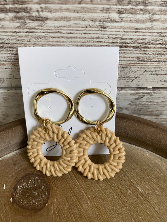 Gold and Taupe Circle Earrings