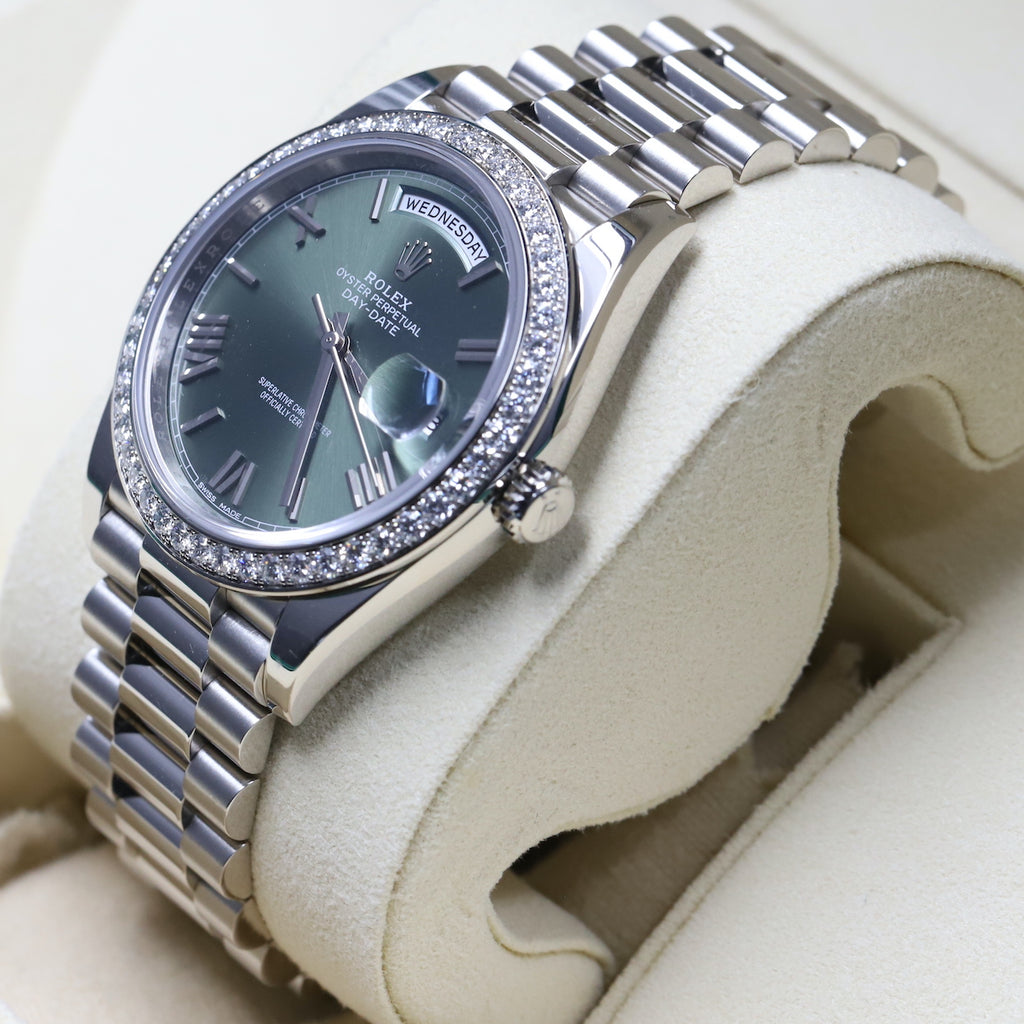 Rolex 228349RBR DayDate 40 White Gold Diamond Bezel Green Dial