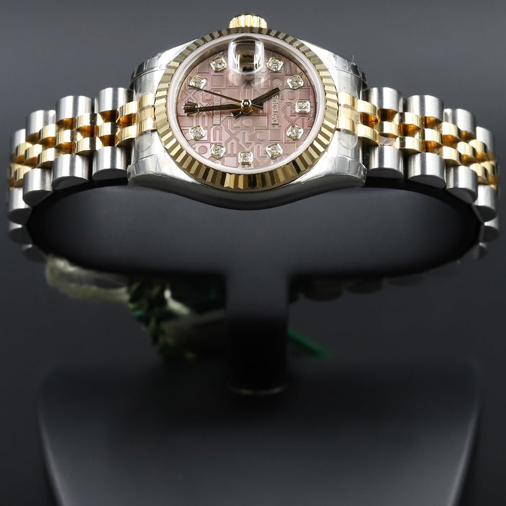Rolex 179173 Datejust 26 18k/SS Black Mother of Pearl Jubilee Diamond Dial