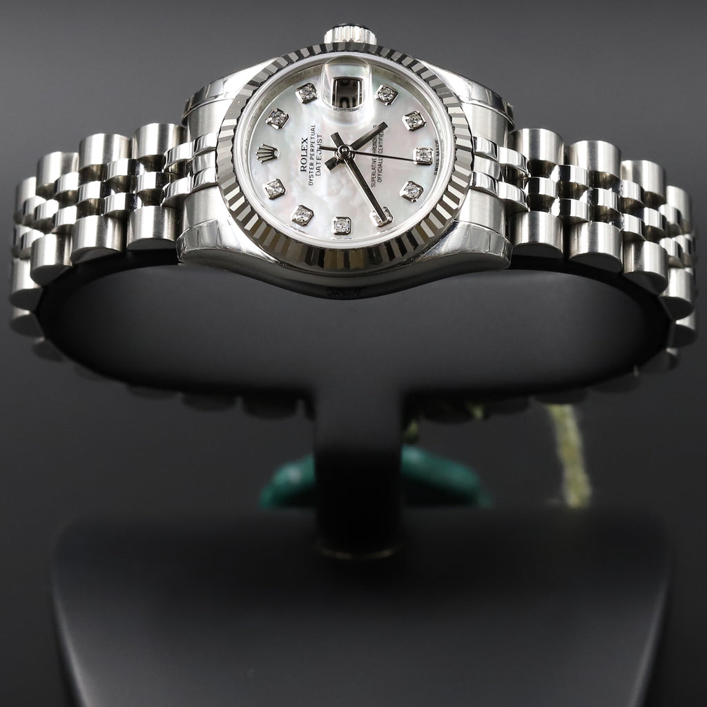 Rolex 179174 Datejust 26 White Mother of Pearl Diamond Dial