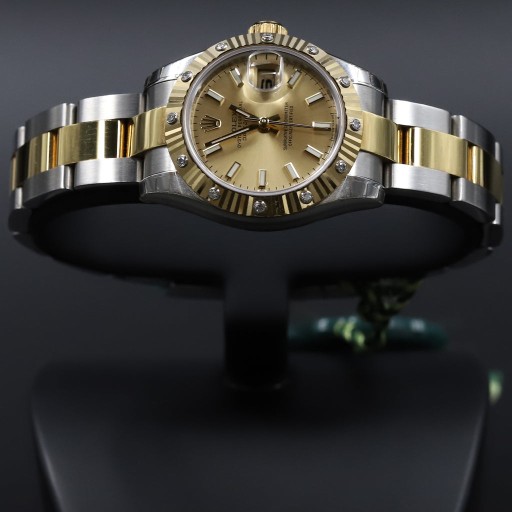 Rolex 179313 Datejust 26 18k/SS Champagne Index Dial Diamond Bezel