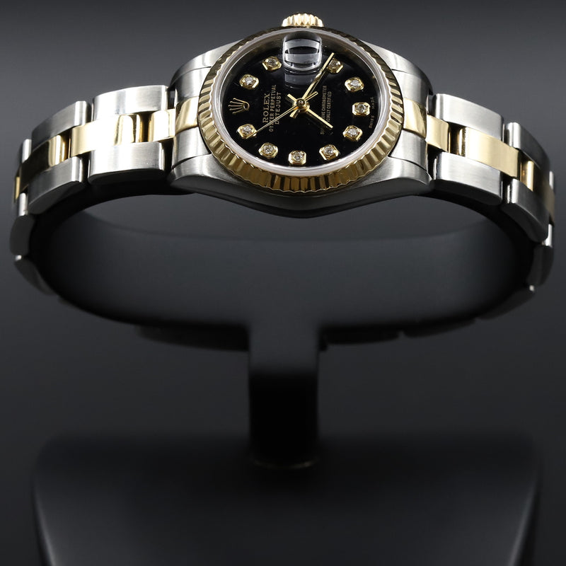 Rolex 179173 Datejust 26 18k/SS Black Diamond Dial