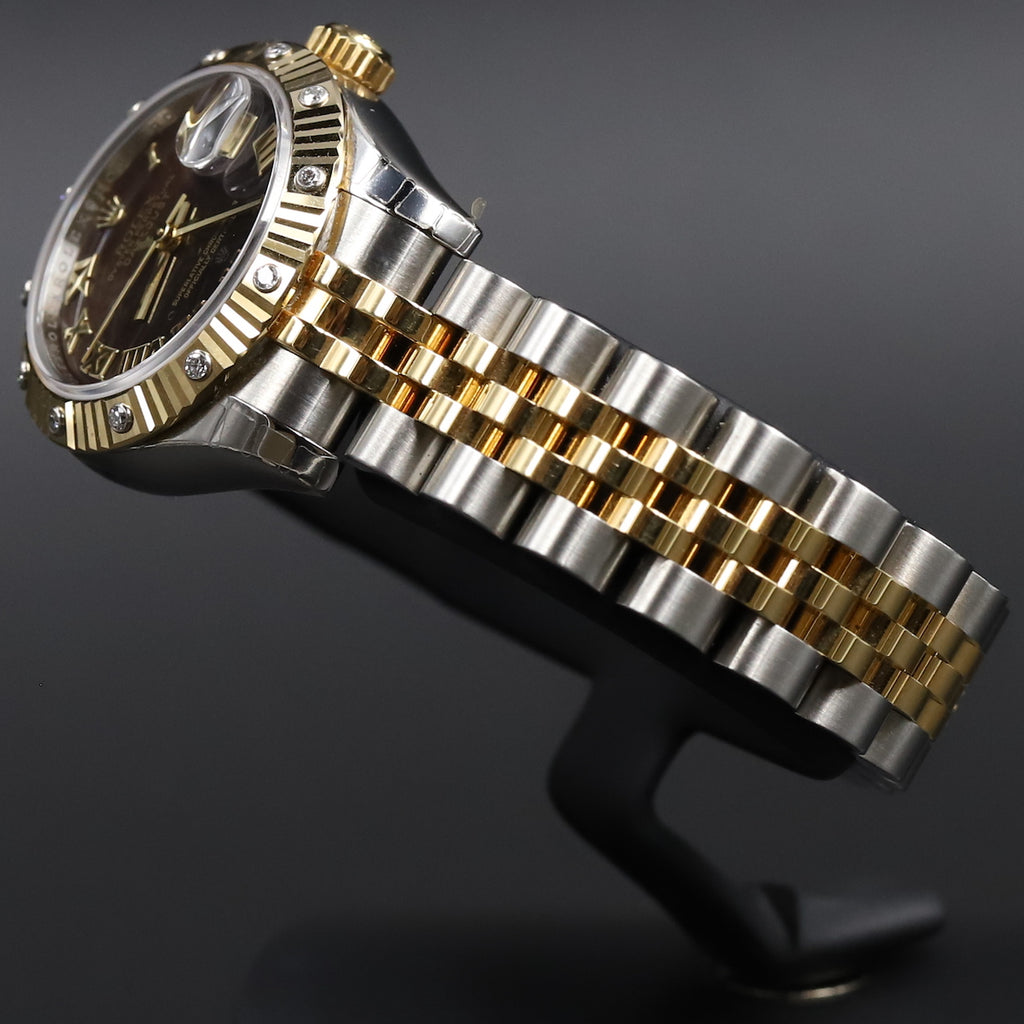 Rolex 179313 Datejust 26 18k/SS Black Mother of Pearl Roman Numeral Dial Diamond Bezel