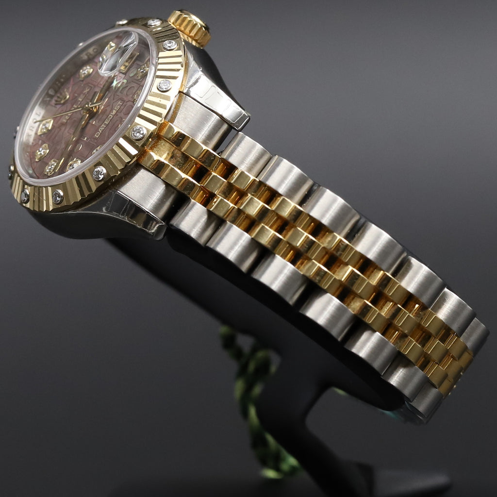 Rolex 179313 Datejust 26 18k/SS Black Mother of Pearl Jubilee Diamond Dial Diamond Bezel
