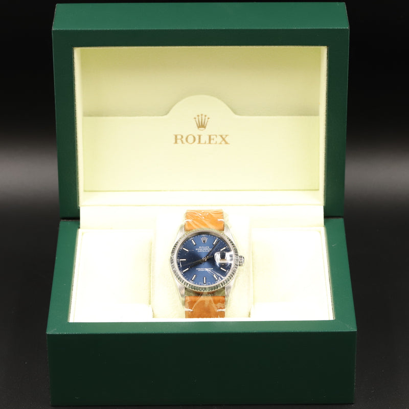 Rolex 16220 Datejust 36 Blue Index Dial