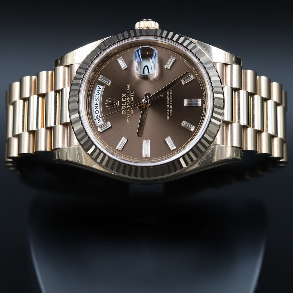 Rolex 228235 DayDate 40 Chocolate Baguette Diamond Dial