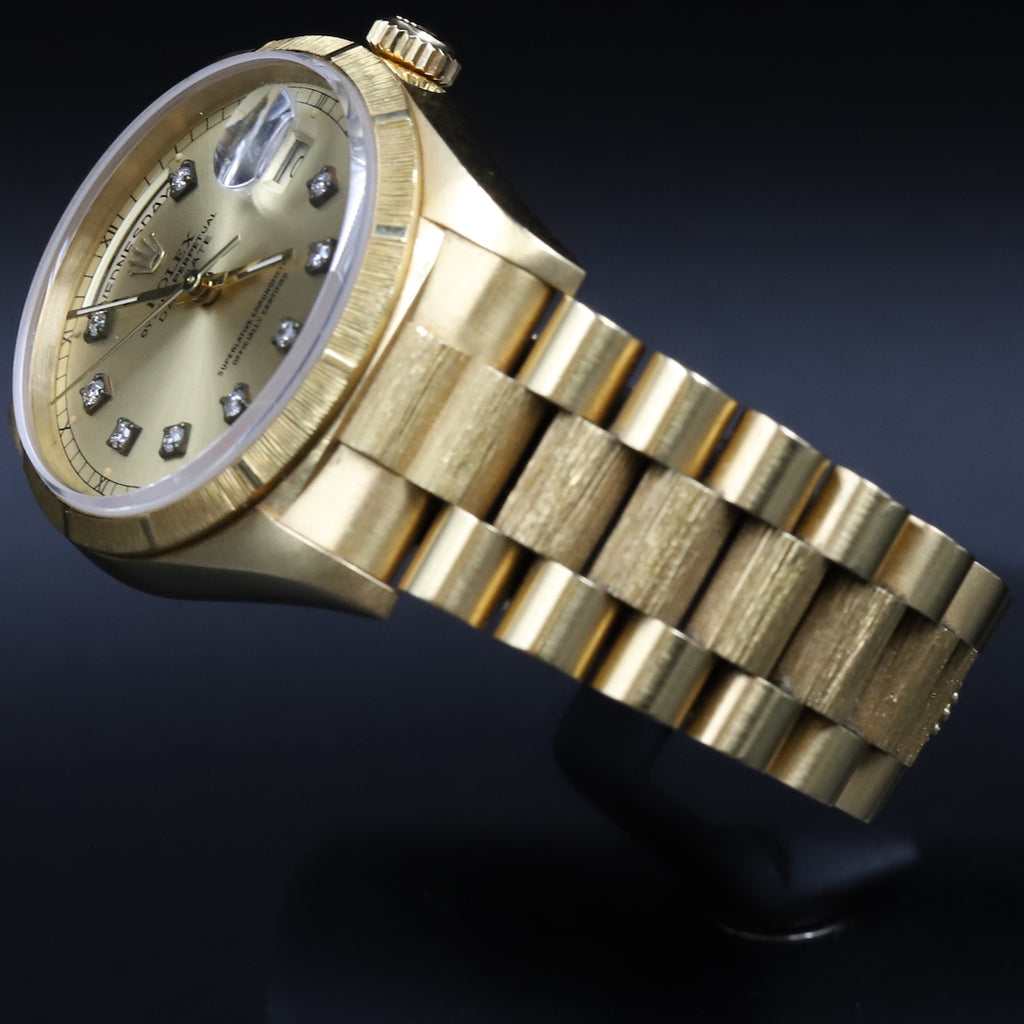 Rolex 18248 DayDate 36 Champagne Diamond Dial Bark Double Quickset