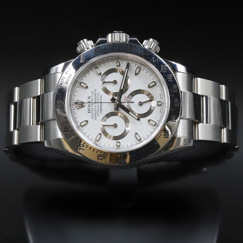 Rolex 116520 Daytona White Dial Blue Chromalight Lume