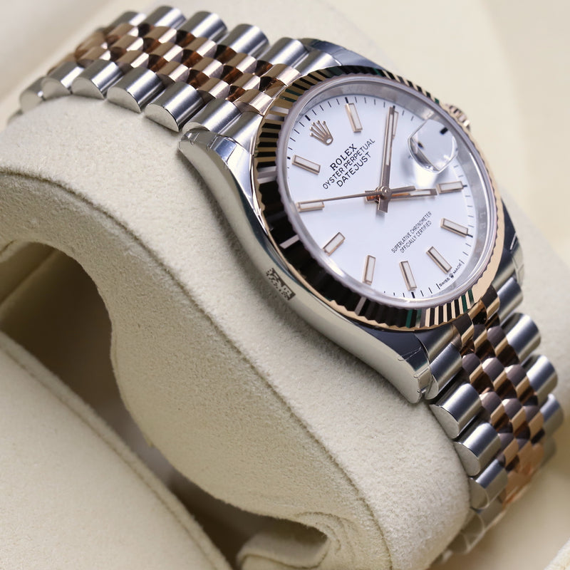 Rolex 126231 Datejust 36 SS/RG White Index Dial