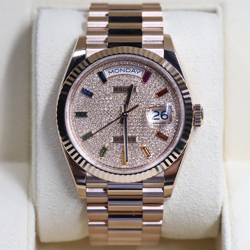 Rolex 128235 Day-Date 36 Pave Rainbow Dial