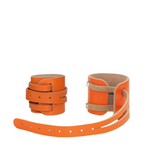 Leather Weightlifting Wristbands (1 Pair) Orange