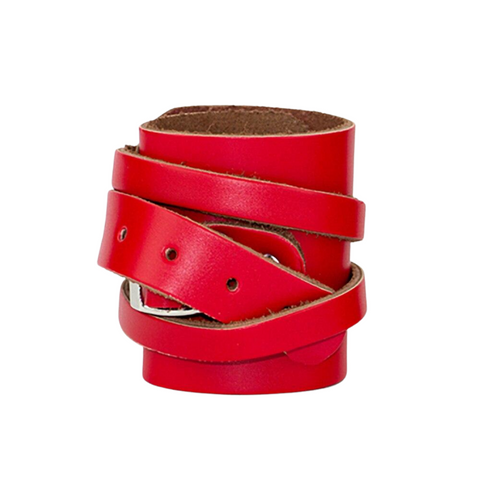 Leather Weightlifting Wristbands (1 Pair) Red