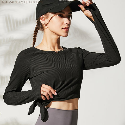 Loose Yoga Fitness Thumb Hole Top Black