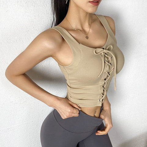 Lace Up Fitness Training Crop Top Apricot