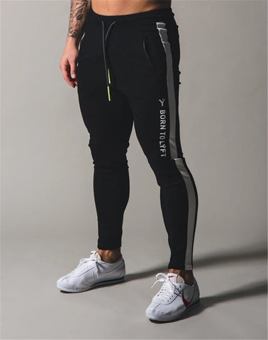 Skinny Gym Running Patchwork Pants Black