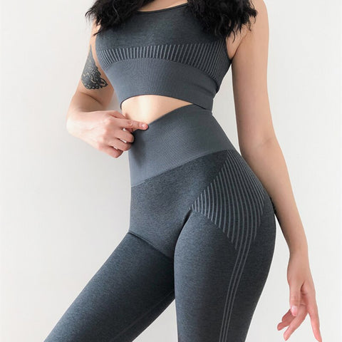 Seamless Leggings+Sport Bra Yoga Set (2pcs) Dark Gray