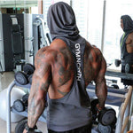 Summer Mesh Breathable Hooded Tanks Top Gray Back View