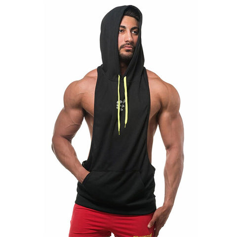 Summer Mesh Breathable Hooded Tanks Top Black