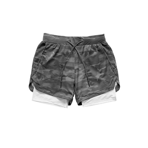Camo Running Double-Layer Shorts Black Camouflage