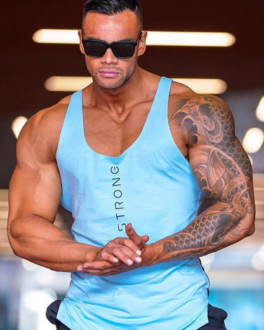Muscle Strong Training Tank Top Light Blue