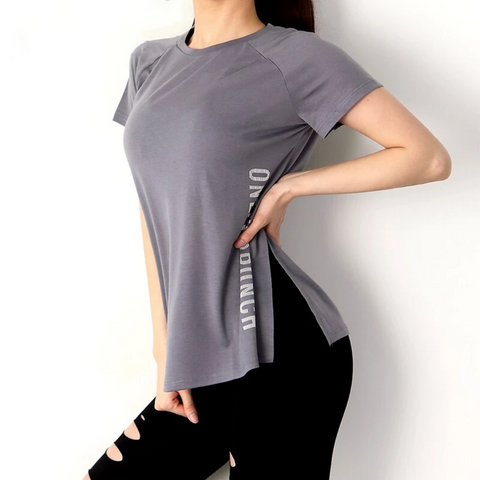 Loose Fit O-Neck Yoga Workout T-shirt Gray