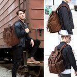 Backpack - Classic Vintage Canvas Leather Backpack