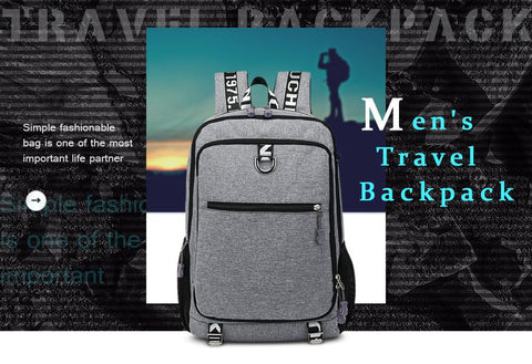 Backpack - Men's Travel Laptop Backpack With USB Charging Port