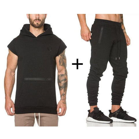 Gym Suit For Men - ASRV Gym Workout Suit - Cap Sleeve Hoodie + Pants.