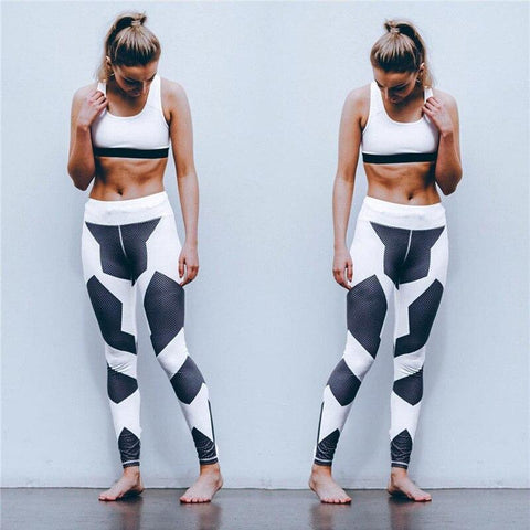Leggings - Black And White Geometric Leggings